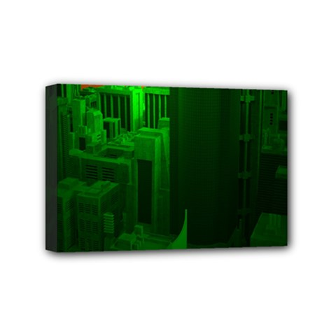 Green Building City Night Mini Canvas 6  x 4