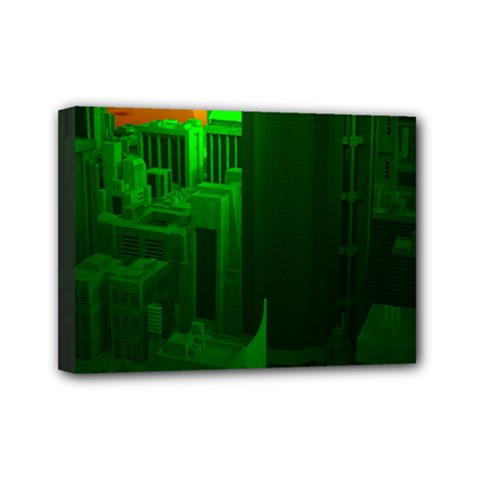 Green Building City Night Mini Canvas 7  x 5