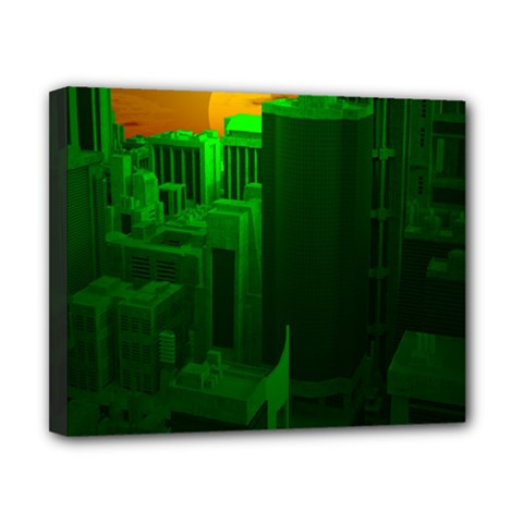 Green Building City Night Canvas 10  x 8