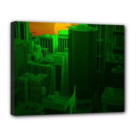 Green Building City Night Canvas 14  x 11