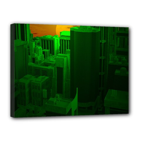 Green Building City Night Canvas 16  x 12