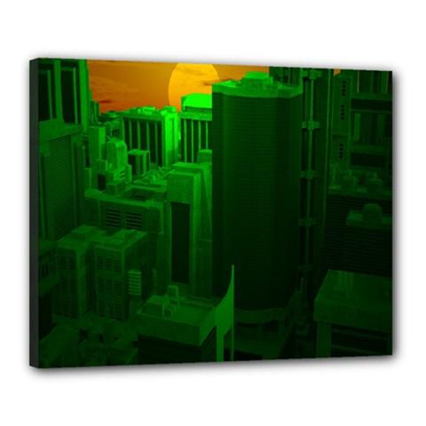 Green Building City Night Canvas 20  x 16