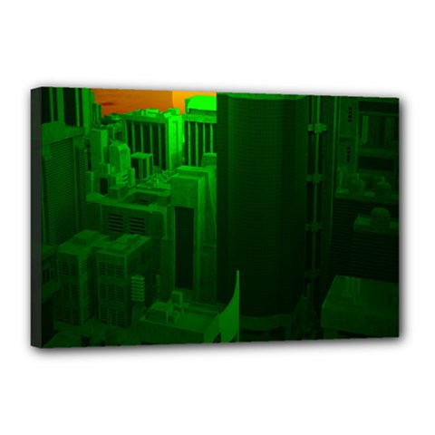 Green Building City Night Canvas 18  x 12