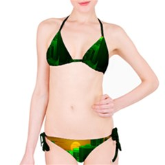 Green Building City Night Bikini Set
