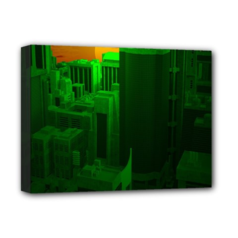 Green Building City Night Deluxe Canvas 16  x 12