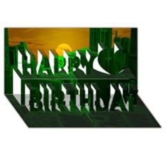 Green Building City Night Happy Birthday 3D Greeting Card (8x4)