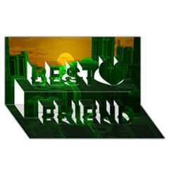 Green Building City Night Best Friends 3D Greeting Card (8x4)