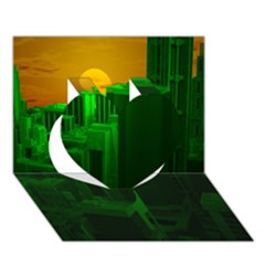 Green Building City Night Heart 3D Greeting Card (7x5)