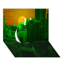 Green Building City Night Apple 3D Greeting Card (7x5)