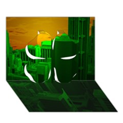 Green Building City Night Clover 3D Greeting Card (7x5)