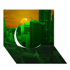 Green Building City Night Circle 3D Greeting Card (7x5)