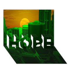 Green Building City Night HOPE 3D Greeting Card (7x5)