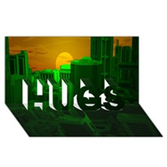 Green Building City Night HUGS 3D Greeting Card (8x4)
