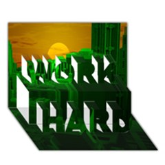 Green Building City Night WORK HARD 3D Greeting Card (7x5)