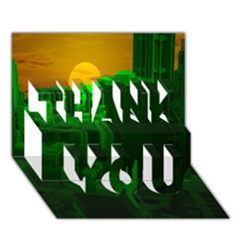 Green Building City Night THANK YOU 3D Greeting Card (7x5)