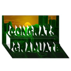 Green Building City Night Congrats Graduate 3D Greeting Card (8x4)