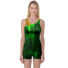 Green Building City Night One Piece Boyleg Swimsuit