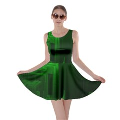 Green Building City Night Skater Dress