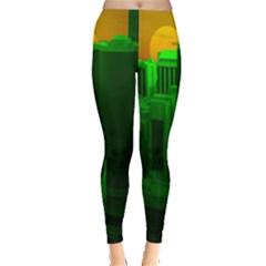 Green Building City Night Leggings