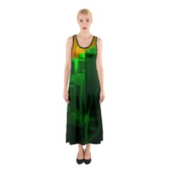 Green Building City Night Sleeveless Maxi Dress