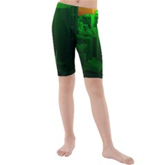 Green Building City Night Kids  Mid Length Swim Shorts