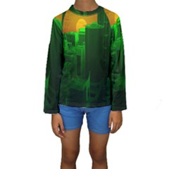 Green Building City Night Kids  Long Sleeve Swimwear