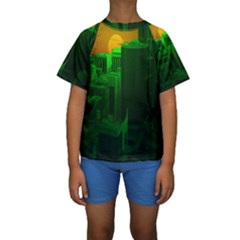 Green Building City Night Kids  Short Sleeve Swimwear
