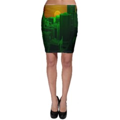 Green Building City Night Bodycon Skirt