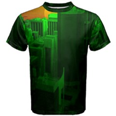 Green Building City Night Men s Cotton Tee