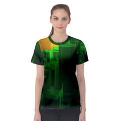 Green Building City Night Women s Sport Mesh Tee