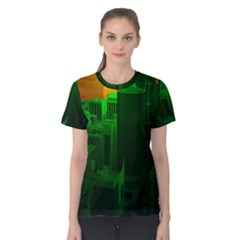 Green Building City Night Women s Cotton Tee