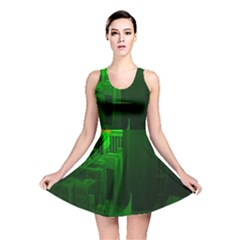 Green Building City Night Reversible Skater Dress