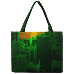 Green Building City Night Mini Tote Bag