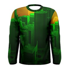 Green Building City Night Men s Long Sleeve Tee