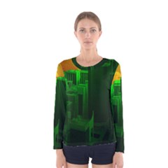 Green Building City Night Women s Long Sleeve Tee