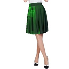 Green Building City Night A-Line Skirt