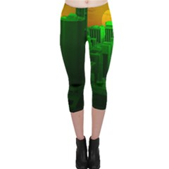 Green Building City Night Capri Leggings