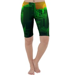 Green Building City Night Cropped Leggings