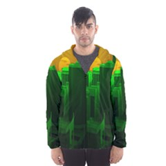 Green Building City Night Hooded Wind Breaker (Men)