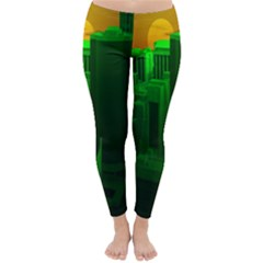Green Building City Night Classic Winter Leggings