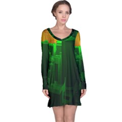 Green Building City Night Long Sleeve Nightdress