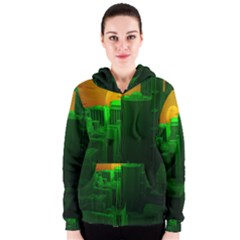 Green Building City Night Women s Zipper Hoodie