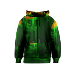 Green Building City Night Kids  Zipper Hoodie