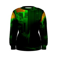 Green Building City Night Women s Sweatshirt