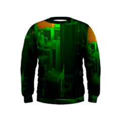 Green Building City Night Kids  Sweatshirt