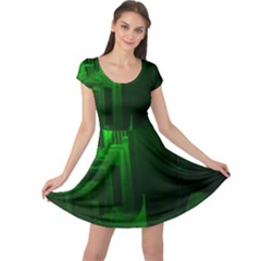 Green Building City Night Cap Sleeve Dresses