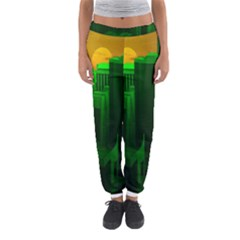 Green Building City Night Women s Jogger Sweatpants