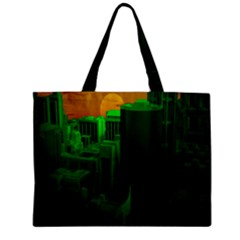 Green Building City Night Zipper Mini Tote Bag