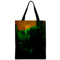 Green Building City Night Zipper Classic Tote Bag