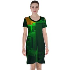 Green Building City Night Short Sleeve Nightdress